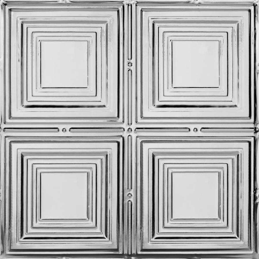 Armstrong Ceilings (Common: 24-in x 24-in; Actual: 23.75-in x 23.75-in) Metallaire Medium Panels Chrome Patterned 15/16-in Drop Panel Ceiling Tiles