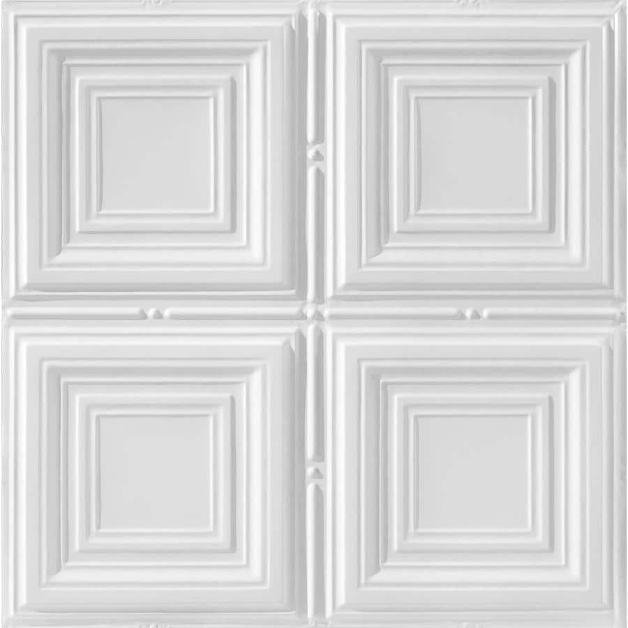 Armstrong Ceilings (Common: 24-in x 24-in; Actual: 23.75-in x 23.75-in) Metallaire Medium Panels White Patterned 15/16-in Drop Panel Ceiling Tiles