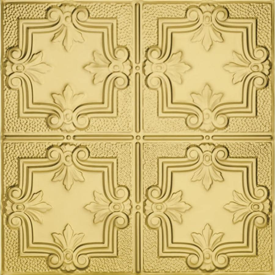 Armstrong Ceilings (Common: 24-in x 24-in; Actual: 23.75-in x 23.75-in) Metallaire Trefoil Brass Patterned 15/16-in Drop Panel Ceiling Tiles