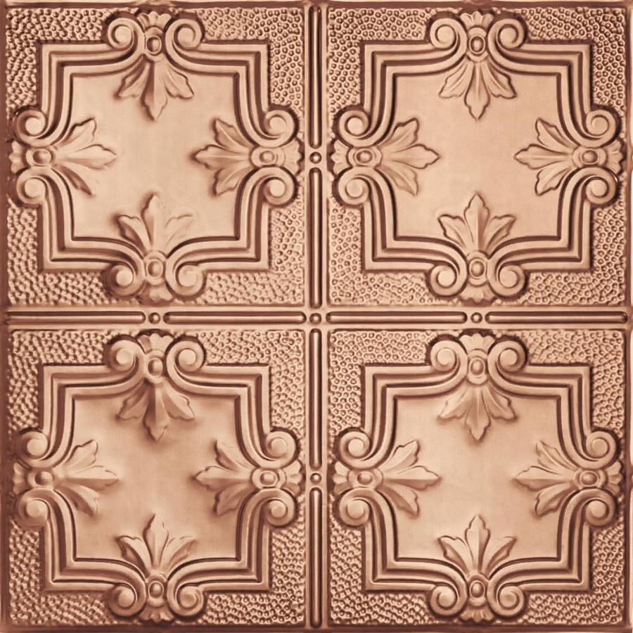 Armstrong Ceilings (Common: 24-in X 24-in; Actual: 23.75-in x 23.75-in) Metallaire Trefoil Copper Metal 15/16-in Drop Panel Ceiling Tiles