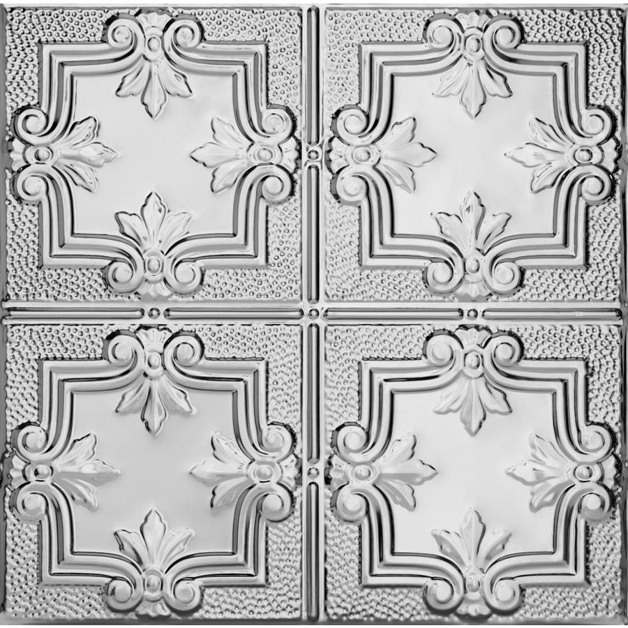 Armstrong Ceilings (Common: 24-in x 24-in; Actual: 23.75-in x 23.75-in) Metallaire Trefoil Chrome Patterned 15/16-in Drop Panel Ceiling Tiles