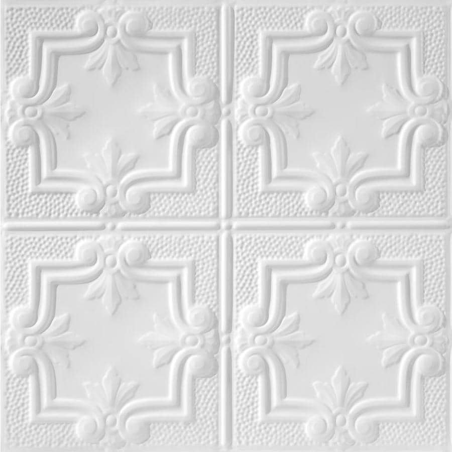 Armstrong Ceilings (Common: 24-in X 24-in; Actual: 23.75-in x 23.75-in) Metallaire Hammered Trefoil White Metal 15/16-in Drop Panel Ceiling Tiles