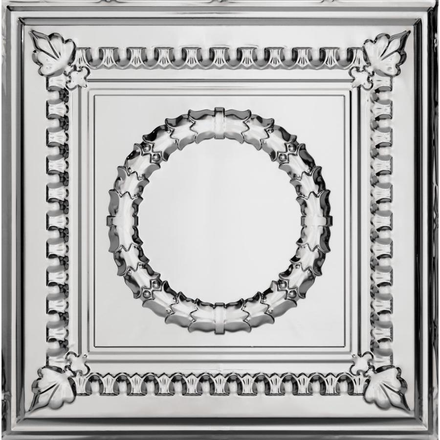 Armstrong Ceilings (Common: 24-in X 24-in; Actual: 23.75-in x 23.75-in) Metallaire Wreath Chrome Metal 15/16-in Drop Panel Ceiling Tiles
