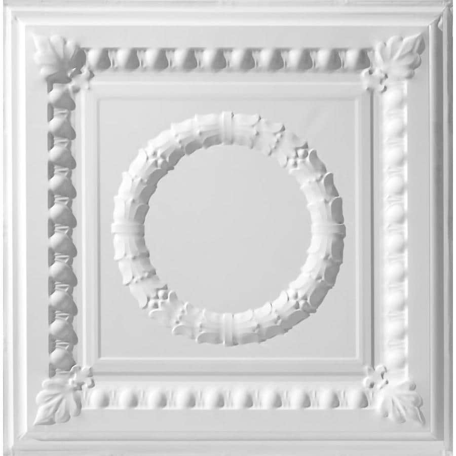 Armstrong Ceilings (Common: 24-in x 24-in; Actual: 23.75-in x 23.75-in) Metallaire Wreath White Patterned 15/16-in Drop Panel Ceiling Tiles