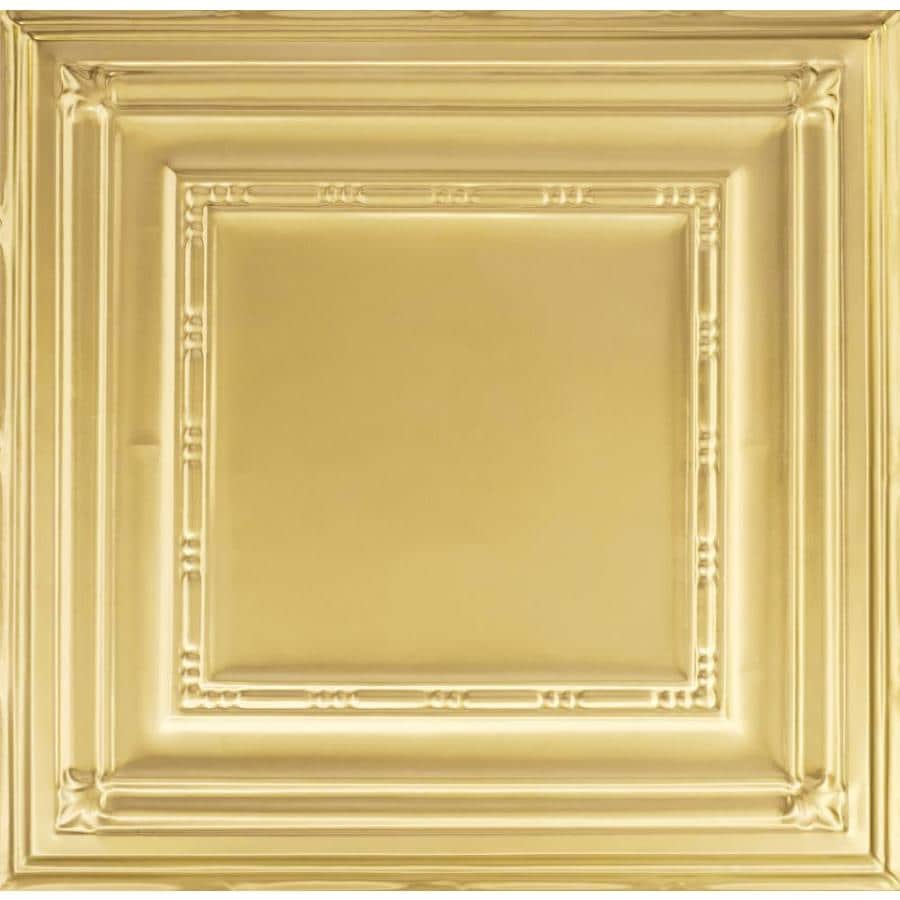 Armstrong Ceilings (Common: 24-in X 24-in; Actual: 23.75-in x 23.75-in) Metallaire Bead Brass Metal 15/16-in Drop Panel Ceiling Tiles