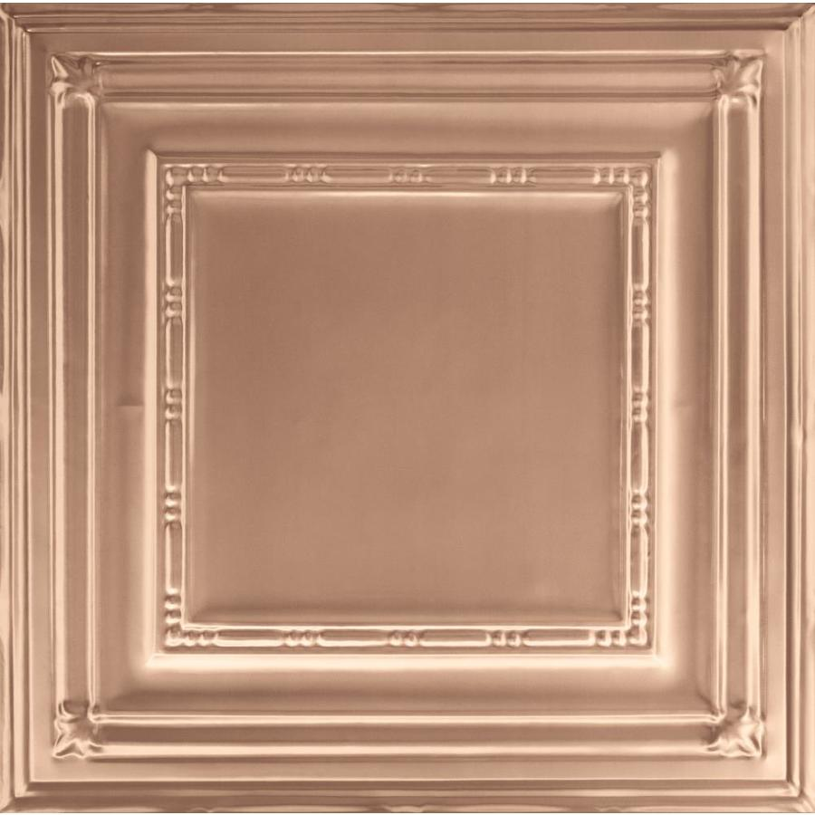 Armstrong Ceilings (Common: 24-in x 24-in; Actual: 23.75-in x 23.75-in) Metallaire Bead Copper Patterned 15/16-in Drop Panel Ceiling Tiles