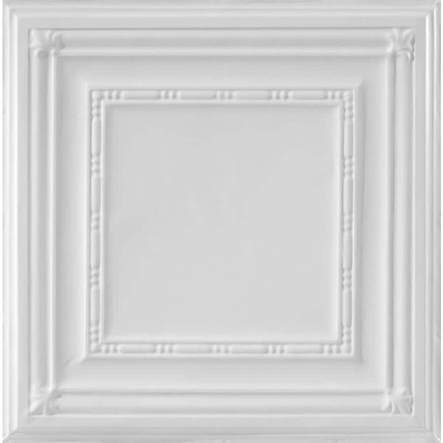Armstrong Ceilings (Common: 24-in X 24-in; Actual: 23.75-in x 23.75-in) Metallaire Bead White Metal 15/16-in Drop Panel Ceiling Tiles