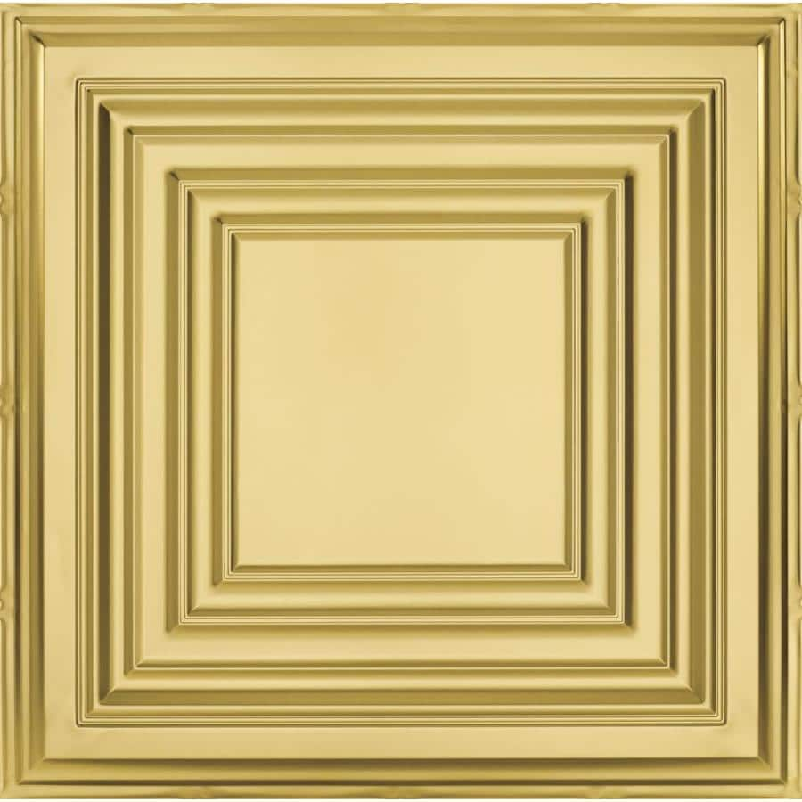 Armstrong Ceilings (Common: 24-in x 24-in; Actual: 23.75-in x 23.75-in) Metallaire Large Panel Brass Patterned 15/16-in Drop Panel Ceiling Tiles