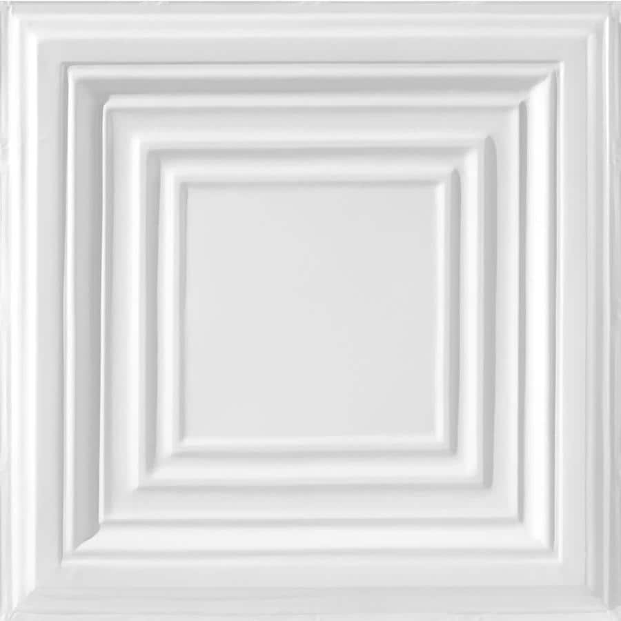 Armstrong Ceilings (Common: 24-in x 24-in; Actual: 23.75-in x 23.75-in) Metallaire Large Panel White Patterned 15/16-in Drop Panel Ceiling Tiles