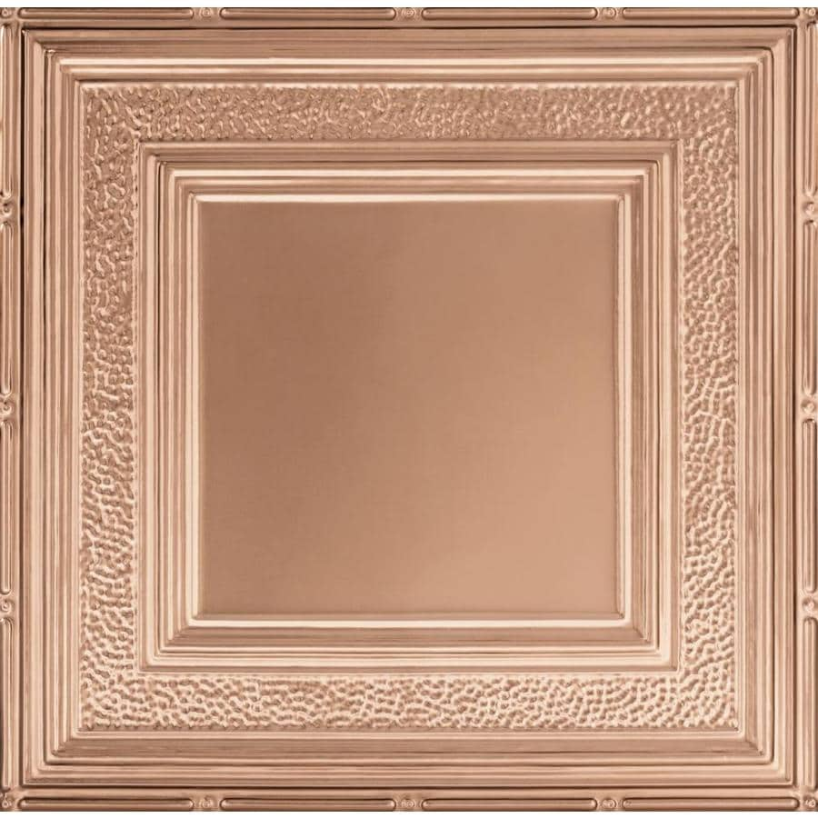 Armstrong Ceilings (Common: 24-in x 24-in; Actual: 23.75-in x 23.75-in) Metallaire Hammered Border Copper Patterned 15/16-in Drop Panel Ceiling Tiles