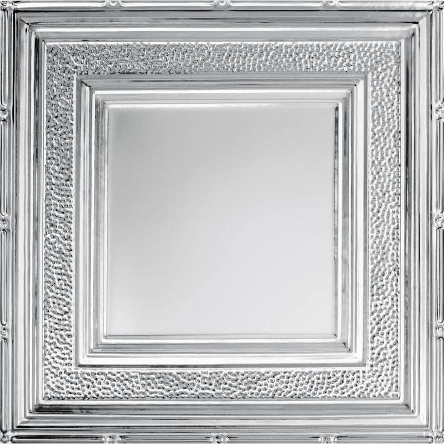 Armstrong Ceilings (Common: 24-in x 24-in; Actual: 23.75-in x 23.75-in) Metallaire Hammered Border Chrome Patterned 15/16-in Drop Panel Ceiling Tiles