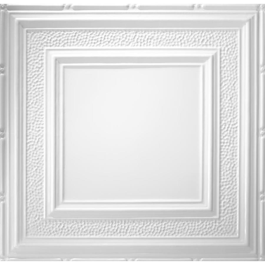 Armstrong Ceilings Metallaire Hammered Border White Patterned 15/16-in Drop Panel Ceiling Tiles (Common: 24-in x 24-in; Actual: 23.75-in x 23.75-in)