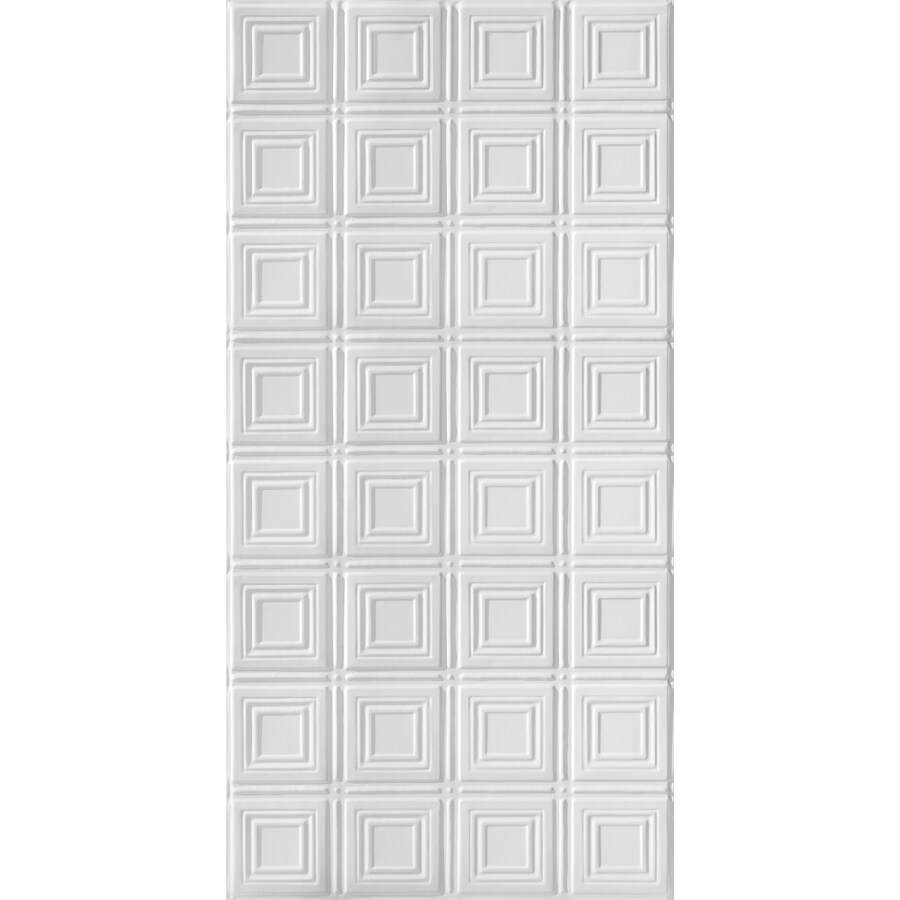 Armstrong Ceilings (Common: 48-in x 24-in; Actual: 48.5-in x 24.5-in) Metallaire Small Panels White Patterned Surface-Mount Panel Ceiling Tiles