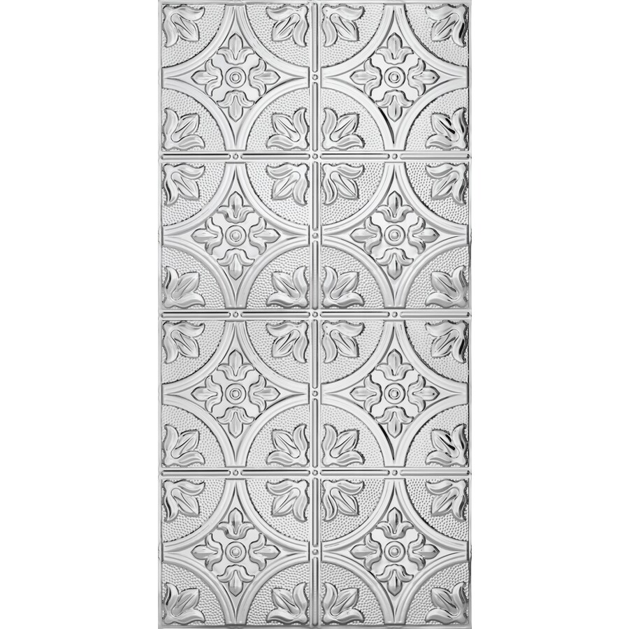 Armstrong Ceilings (Common: 48-in x 24-in; Actual: 48.5-in x 24.5-in) Metallaire Large Floral Circle Chrome Patterned Surface-Mount Panel Ceiling Tiles