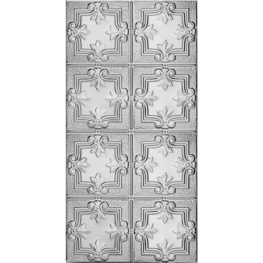 Armstrong Ceilings (Common: 48-in x 24-in; Actual: 48.5-in x 24.5-in) Metallaire Hammered Trefoil Chrome Patterned Surface-Mount Panel Ceiling Tiles