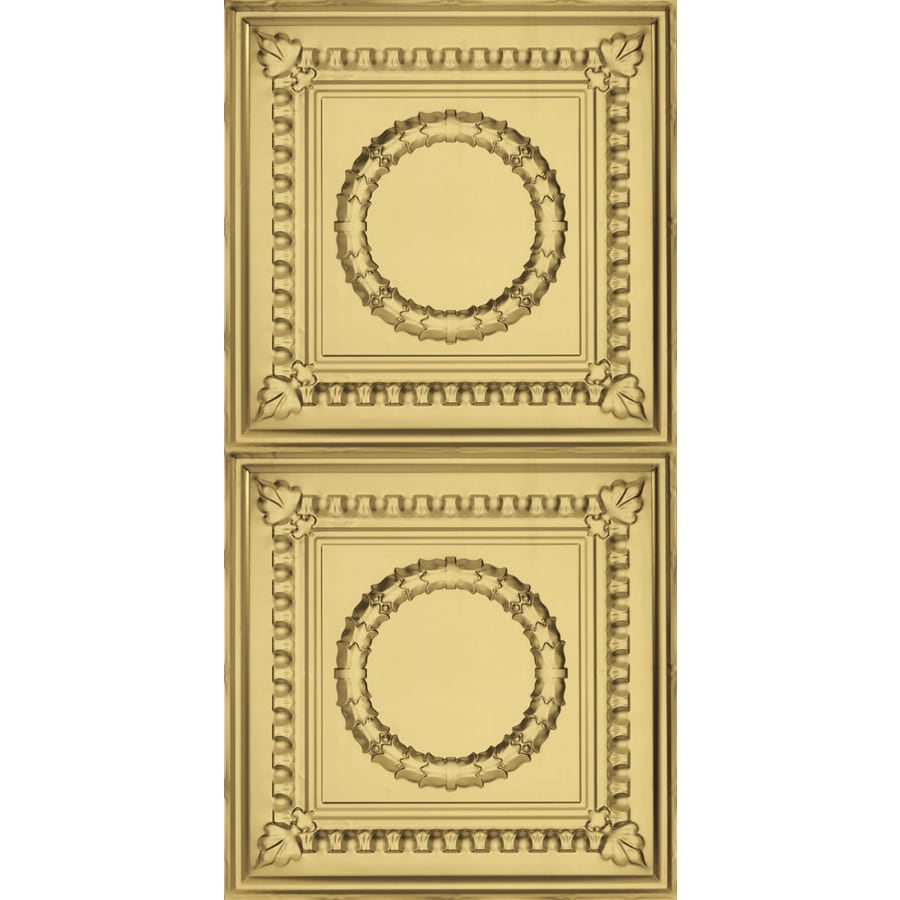Armstrong Ceilings (Common: 48-in x 24-in; Actual: 48.5-in x 24.5-in) Metallaire Wreath Brass Patterned Surface-Mount Panel Ceiling Tiles