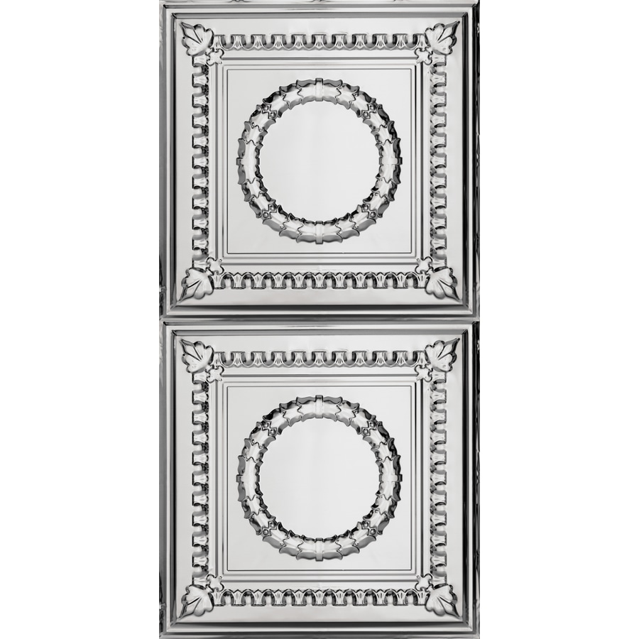 Armstrong Ceilings (Common: 48-in x 24-in; Actual: 48.5-in x 24.5-in) Metallaire Wreath Chrome Patterned Surface-Mount Panel Ceiling Tiles
