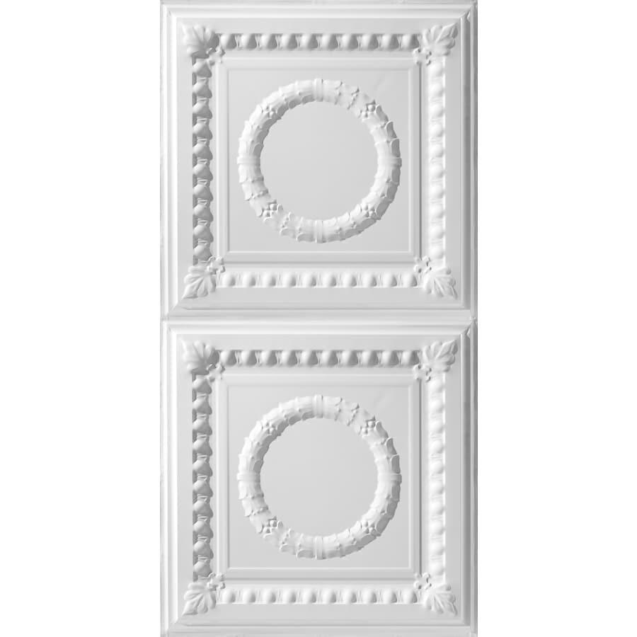 Armstrong Ceilings (Common: 48-in x 24-in; Actual: 48.5-in x 24.5-in) Metallaire Wreath White Patterned Surface-Mount Panel Ceiling Tiles