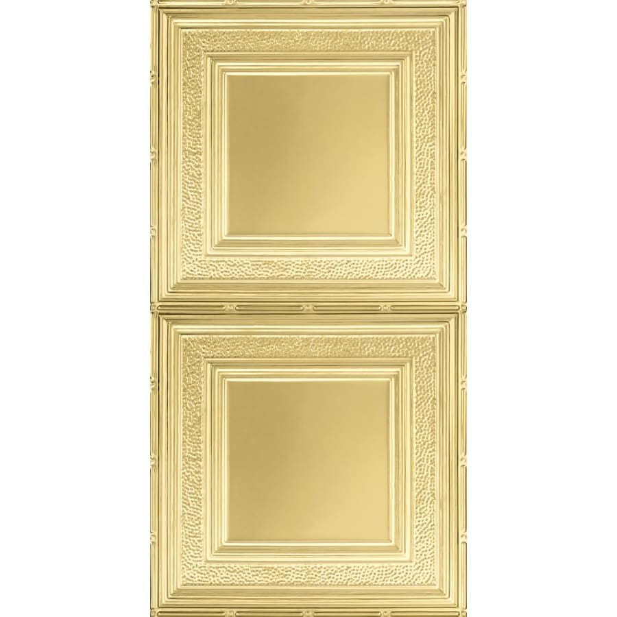 Armstrong Ceilings (Common: 48-in x 24-in; Actual: 48.5-in x 24.5-in) Metallaire Hammered Border Brass Patterned Surface-Mount Panel Ceiling Tiles