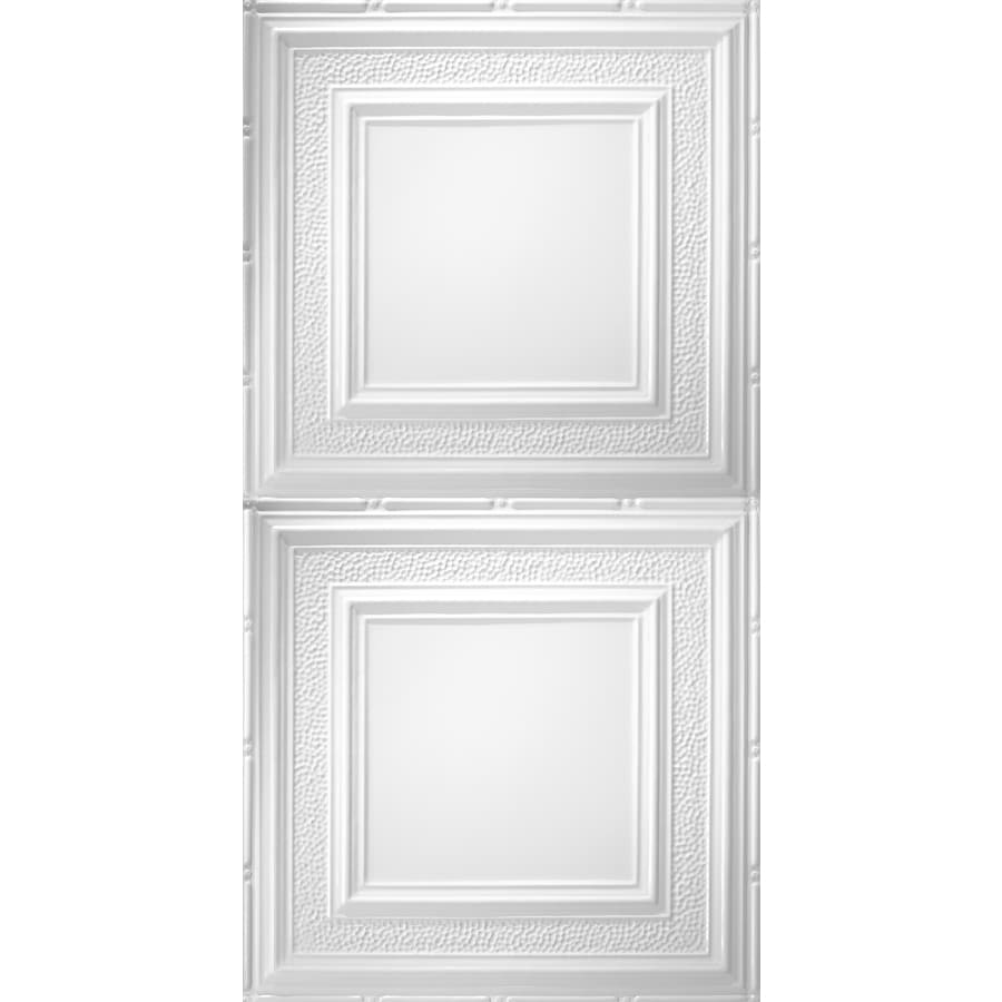 Armstrong Ceilings (Common: 48-in x 24-in; Actual: 48.5-in x 24.5-in) Metallaire Hammered Border White Patterned Surface-Mount Panel Ceiling Tiles