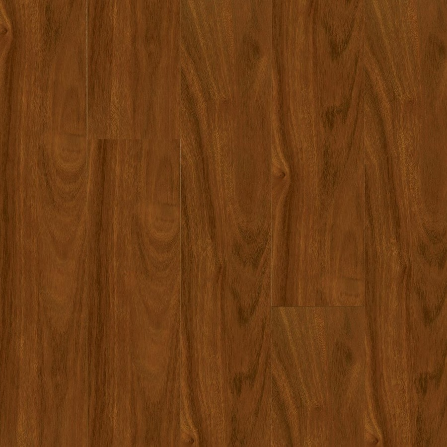 Armstrong High Gloss 4.92-in W x 3.93-ft L Santos Mahogany Wood Plank Laminate Flooring