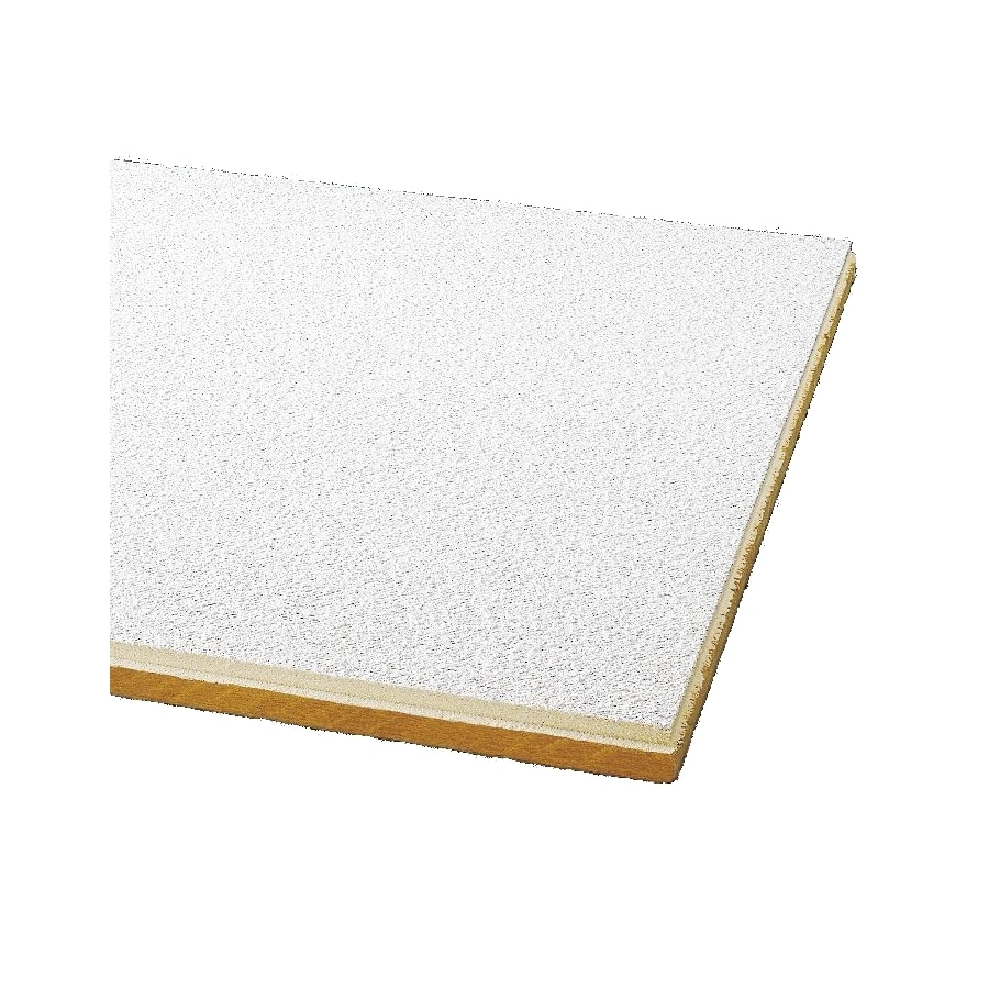Armstrong Painted Nubby 24-Pack White Textured 9/16-in Drop Acoustic Panel Ceiling Tiles (Common: 24-in x 24-in; Actual: 23.745-in x 23.745-in)