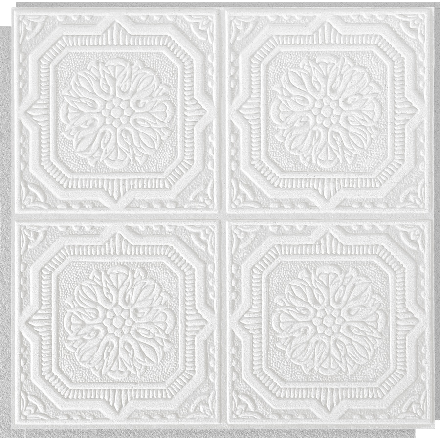 Armstrong Ceilings Tin Look Wellington 40-Pack White Patterned Surface-Mount Acoustic Ceiling Tiles (Common: 12-in x 12-in; Actual: 11.985-in x 11.985-in)