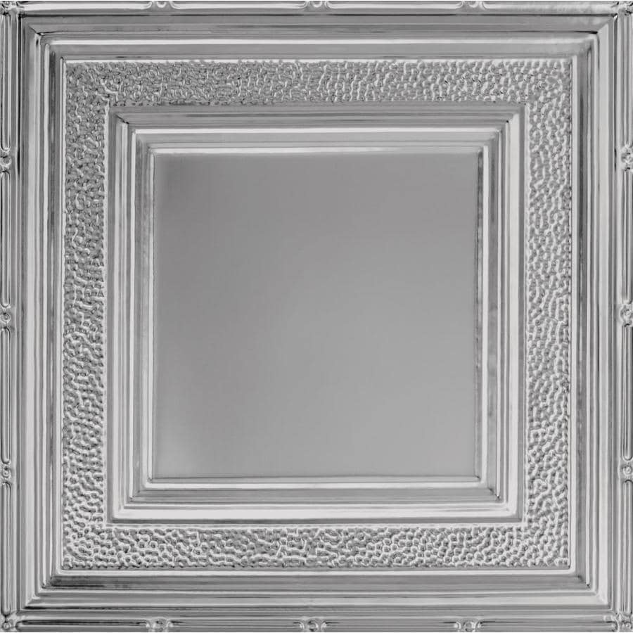 Armstrong Ceilings (Common: 24-in X 24-in; Actual: 23.75-in x 23.75-in) Metallaire Hammered Border Lacquered Steel Metal 15/16-in Drop Panel Ceiling Tiles
