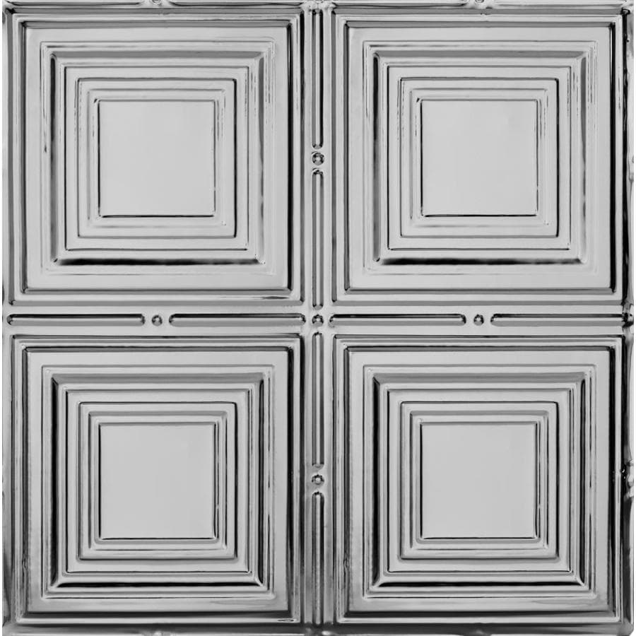 Armstrong Ceilings (Common: 24-in x 24-in; Actual: 23.75-in x 23.75-in) Metallaire Medium Panels Lacquered Steel Patterned 15/16-in Drop Panel Ceiling Tiles