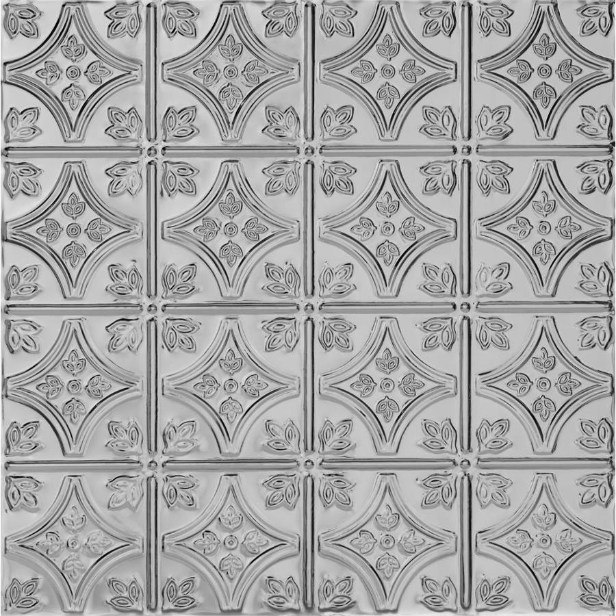 Armstrong Ceilings (Common: 24-in x 24-in; Actual: 23.75-in x 23.75-in) Metallaire Small Floral Circle Lacquered Steel Patterned 15/16-in Drop Panel Ceiling Tiles