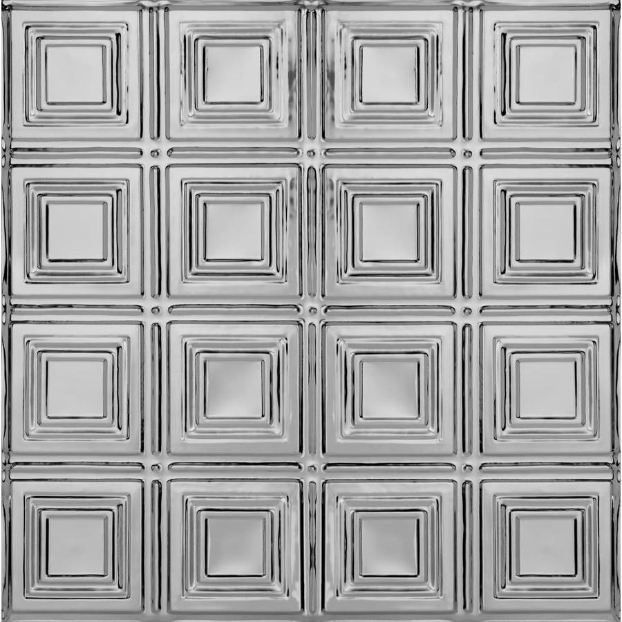 Armstrong Ceilings (Common: 24-in x 24-in; Actual: 23.75-in x 23.75-in) Metallaire Small Panels Lacquered Steel Patterned 15/16-in Drop Panel Ceiling Tiles