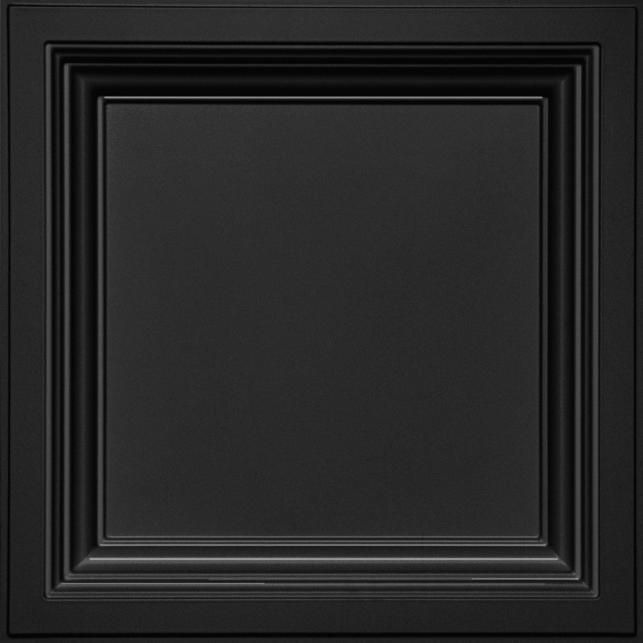 Armstrong Ceilings (Common: 24-in x 24-in; Actual: 23.75-in x 23.75-in) Easy Elegance Black Coffered 15/16-in Drop Panel Ceiling Tiles