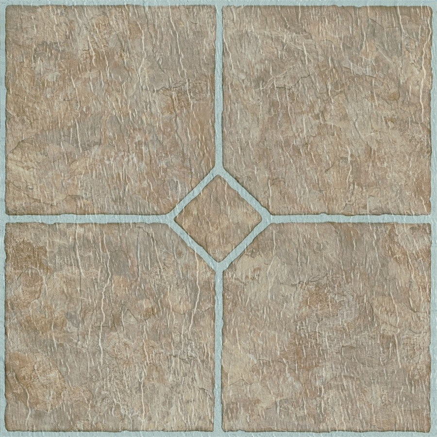 Shop style selections chatsworth 12 in x 12 in mosaic peel and stick vinyl tile at Vinyl tile floor