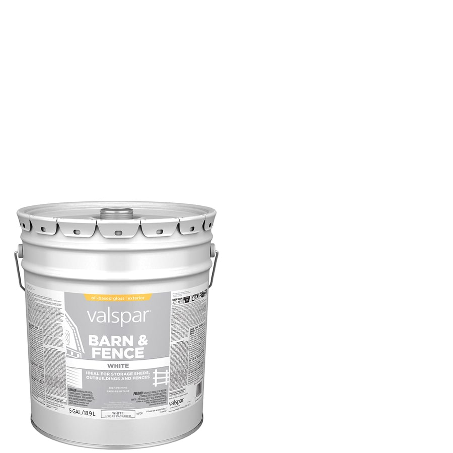Shop valspar barn and fence white gloss oil based exterior paint actual net contents 640 fl oz - Exterior white gloss paint image ...