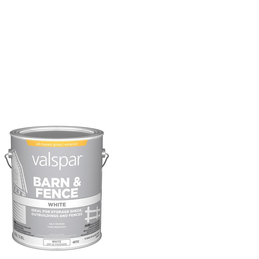 Shop Valspar Barn And Fence White Gloss Oil Based Exterior Paint Actual Net Contents 128 Fl Oz
