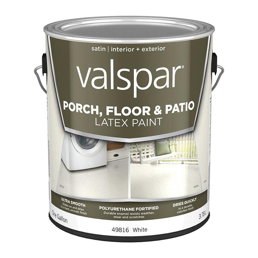 Valspar Porch and Floor White Satin Interior/Exterior Paint (Actual Net Contents: 128-fl oz)
