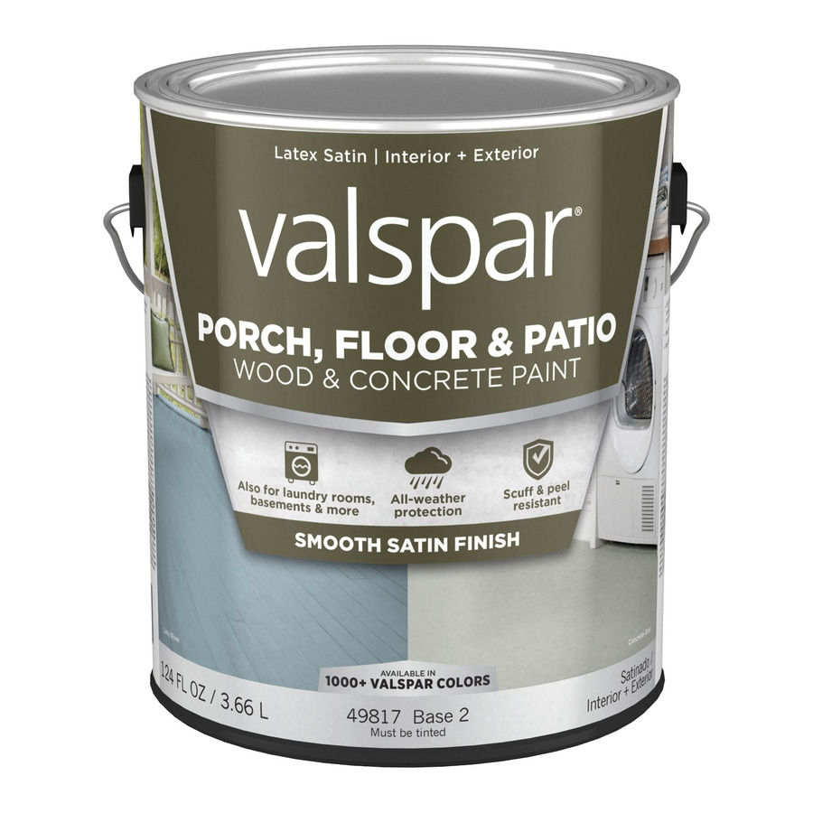 Valspar Base 2 Tintable Satin Interior/Exterior Porch and Floor Paint (Actual Net Contents: 124 Fluid Ounce(S))