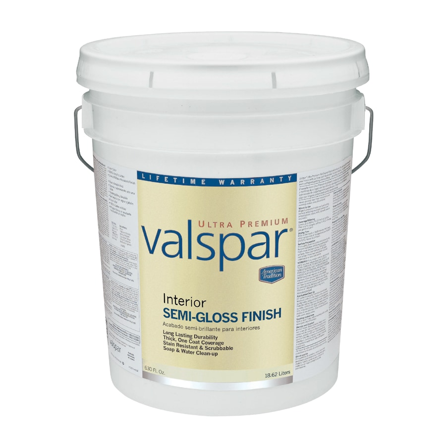 Valspar 5 Gallon Ultra Premium Interior Latex Semi Gloss Wall Trim Paint White