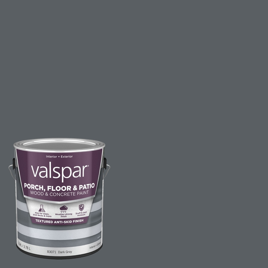 Valspar Dark Gray Satin Interior/Exterior Anti-Skid Porch and Floor Paint (Actual Net Contents: 128-fl oz)