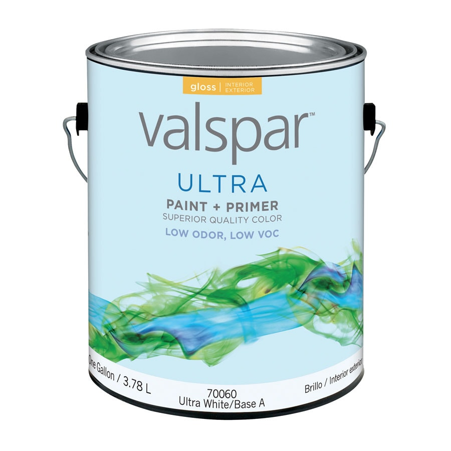 Valspar Ultra Gallon Size Container Interior Gloss Tintable White Latex-Base Paint and Primer in One (Actual Net Contents: 128-fl oz)