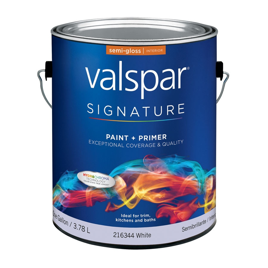 Valspar Signature White Semi-Gloss Latex Interior Paint and Primer in One (Actual Net Contents: 128-fl oz)