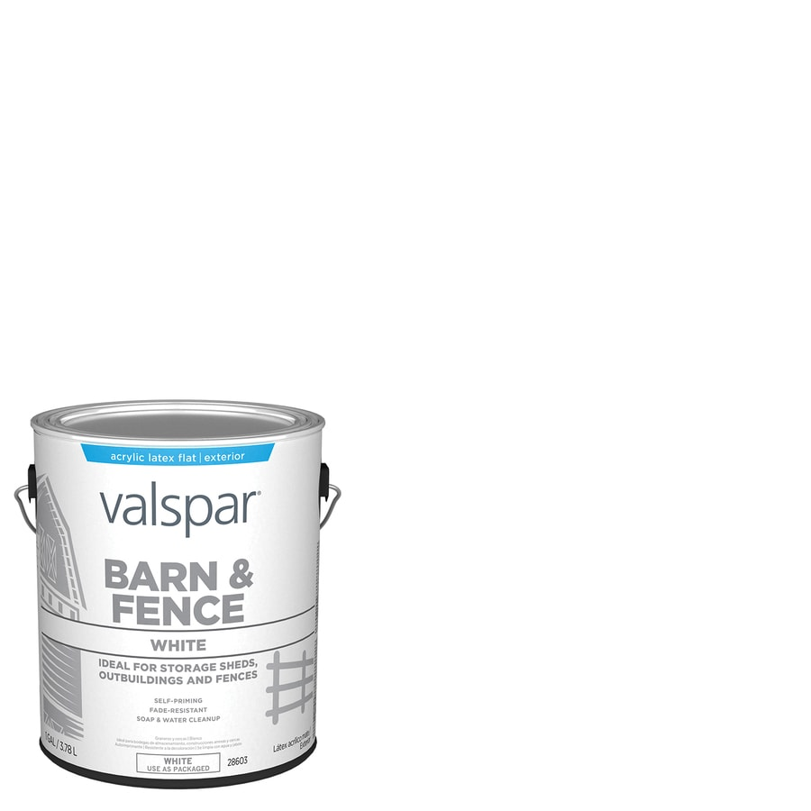 Valspar Barn and Fence White Flat Latex Exterior Paint (Actual Net Contents: 128-fl oz)
