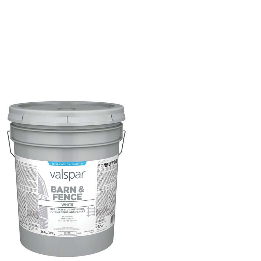 Valspar Barn and Fence White Flat Latex Exterior Paint (Actual Net Contents: 640-fl oz)