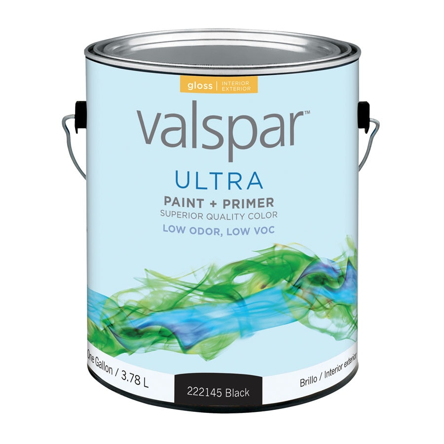 Valspar Ultra Black Gloss Latex Interior/Exterior Paint and Primer in One (Actual Net Contents: 128-fl oz)