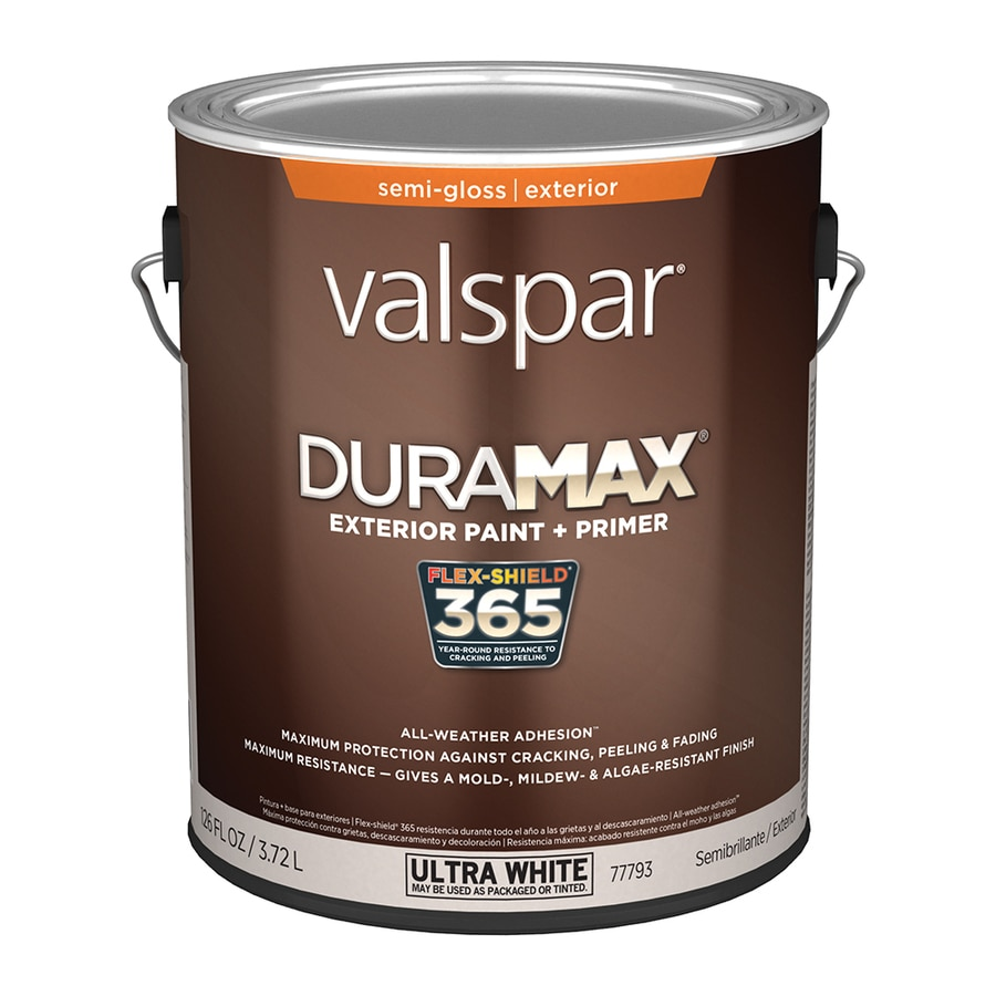 Shop valspar duramax semi gloss latex exterior paint actual net contents 126 fl oz at - Exterior white gloss paint image ...
