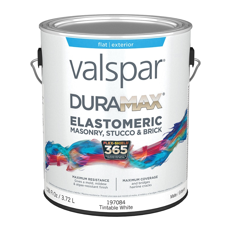 Valspar Duramax Masonry and Stucco Elastomeric Tintable White Flat Latex Exterior Paint (Actual Net Contents: 126-fl oz)