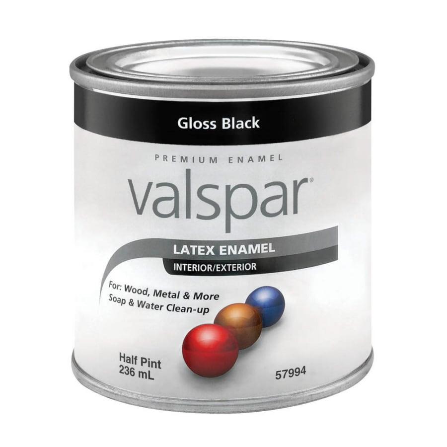 Shop Valspar Gloss Black Gloss Latex Enamel Interior Exterior Paint Actual Net Contents 8 Fl