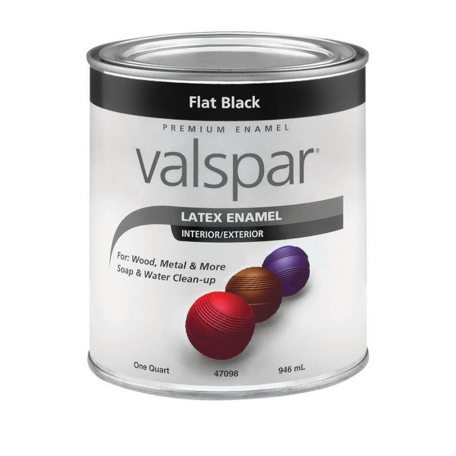 Shop Valspar Flat Black Flat Latex Enamel Interior