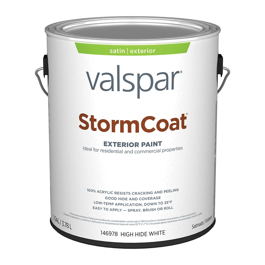 Valspar Stormcoat White Satin Latex Exterior Paint (Actual Net Contents: 128-fl oz)