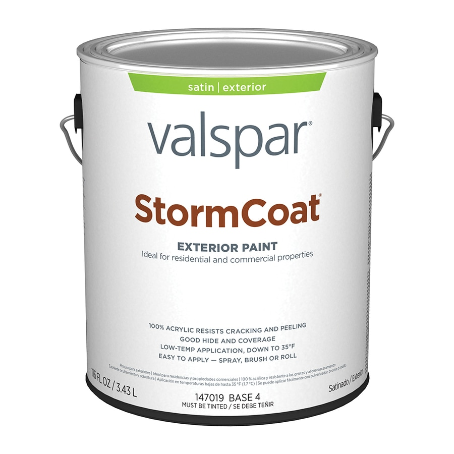 Shop Valspar Stormcoat Satin Latex Exterior Paint Actual Net Contents 116 Fl Oz At